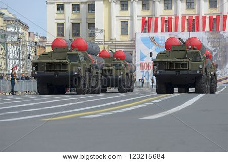 ST. PETERSBURG, RUSSIA - MAY 05, 2015: Multiple rocket launchers S-300PM on parade rehearsal in honor of Victory Day in St. Petersburg