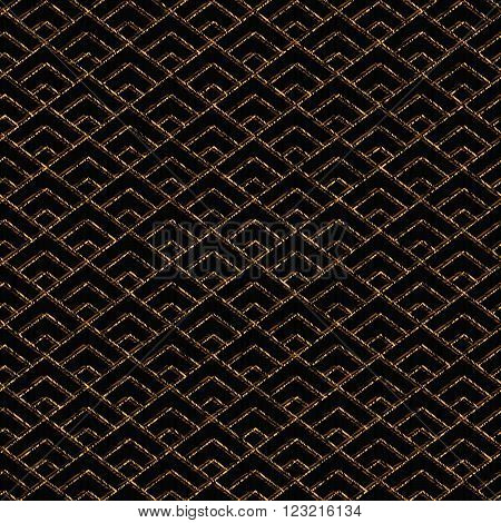 Seamless pattern based on japanese sashiko motif. Golden color. Sashiko with triangles. Diamond motif. Abstract geometric backdrop. For decoration or printing on fabric.