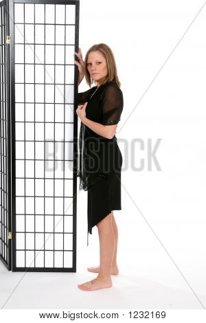 Woman In Black Dress With Screen