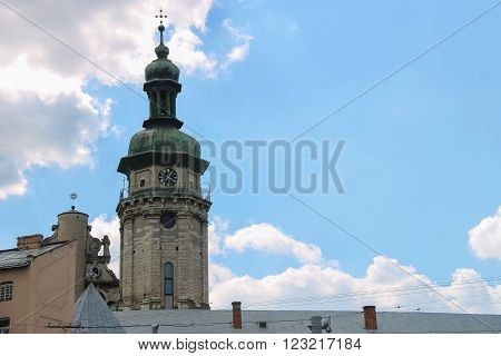 Bell tower of Lviv Bernardine Cathedral. Bernardine church and monastery located in Old Town of Lviv south of market square. Ukraine