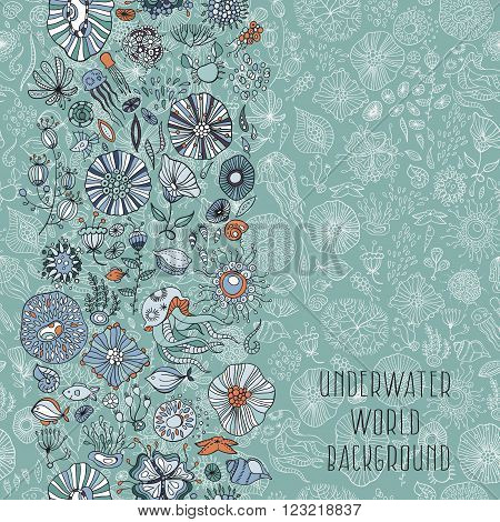 underwater life with jellyfish fish seaweed vector
