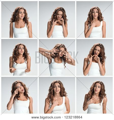 The collage from portraites of pleading woman with different emotions on gray