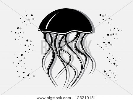 icon Medusa. Black silhouette of Medusa and bubbles on a gray background