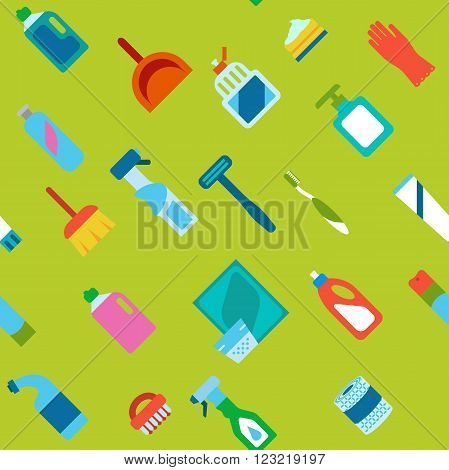 Endless colored cartoon flat hygiene and cleaning background.