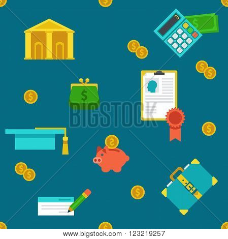 Endless colored cartoon flat education loan and banking background.