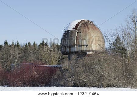 The dome of the telescope of the Pulkovo Observatory of the february sunny day. St. Petersburg