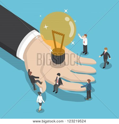 Isometric Illuminated Light Bulb In Businessman Hand