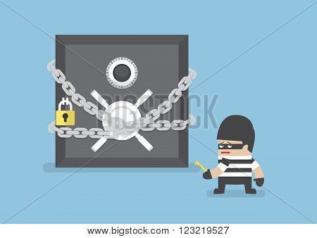 Thief Standing In Front Of Safe Box With Chain And Lock