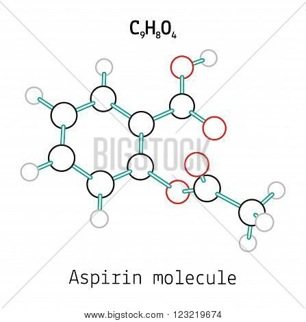 C9H8O4 aspirin 3d molecule isolated on white