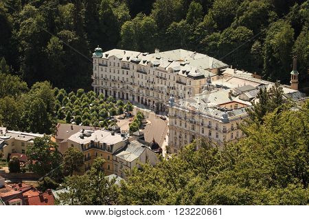 KARLOVY VARY, CZECH - MAY, 15, 2015: street view in Karlovy Vary hotels in Karlovy Vary Carlsbad Czech Republic Europe