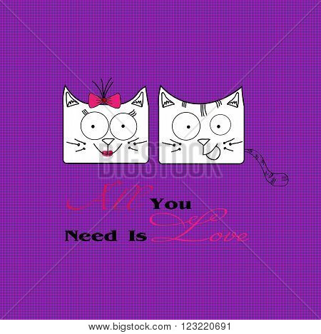 Abstract illustration of two cats in love