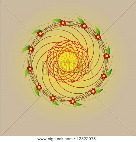 Circle one year illustration Picture a circle of one year consists of a wreath woven from vines and flowers symbolize the twelve months of the year illustration on pastel background