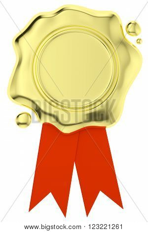 Gold sealing wax seal stamp without sign on small red ribbons with small drops isolated on white background 3d illustration