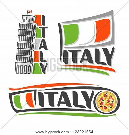 Vector illustration of the logo for Italy, consisting of three isolated illustrations with the Italian flag, leaning tower of Pisa and pizza on a white background