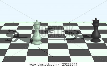 The image of duel between chess kings