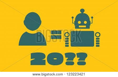 Cute vintage robot and human. Robotics industry relative image. Singularity problem metaphor