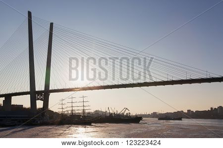 Vladivostok Primorsky Region Russia - February 1, 2016: Vladivostok port the bridge through the bay