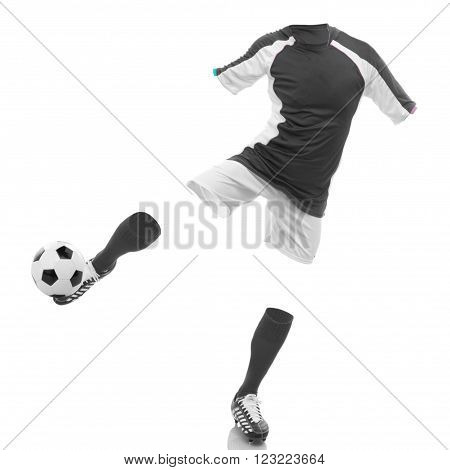 invisible football player shot in studio background