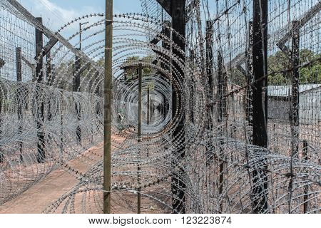 barbwire fence. guarded border ,barbwire fence. guarded border