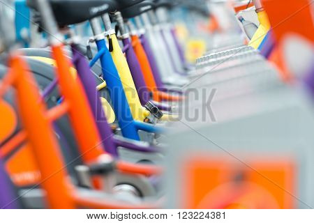 Close up view on details of bicycles for rent in Vienna Austria. Europe travel.