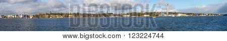 Wide panorama of Stockholm, capital city of Sweden.