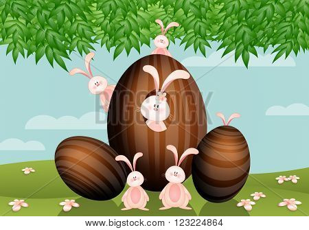 illustration of Easter chocolate eggs with rabbits