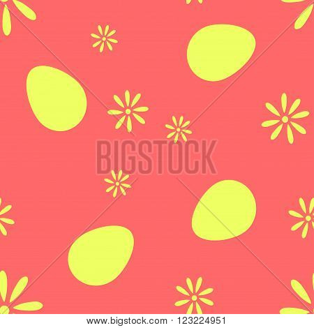 The Pixel Pattern Of Eggs And Flowers Vector