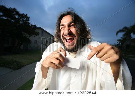 Spaß Mann mit Visitenkarte