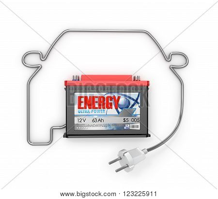 Automobile Batteries with an electric cord in a car silhouette isolated white background.
