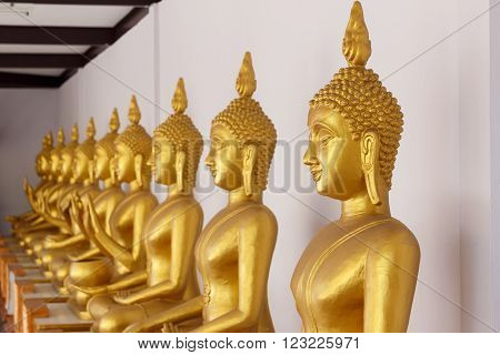 Golden statue of Buddha in shade of temple