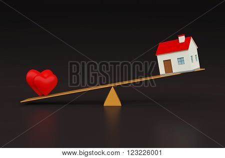 Heart with Home 3d Model on Seesaw