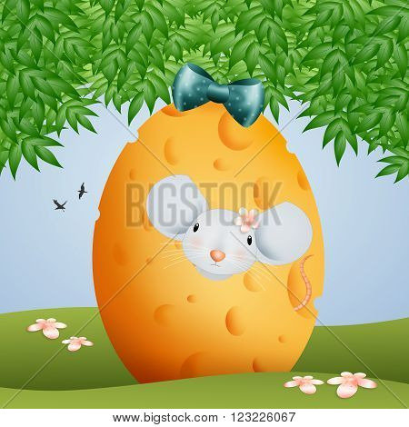 illustration of Easter cheese egg with mouse