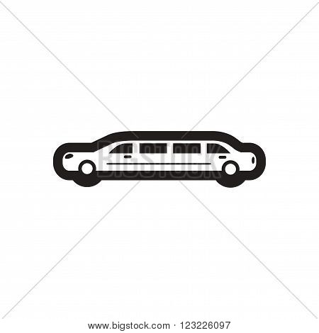 Flat icon in black and white limousine