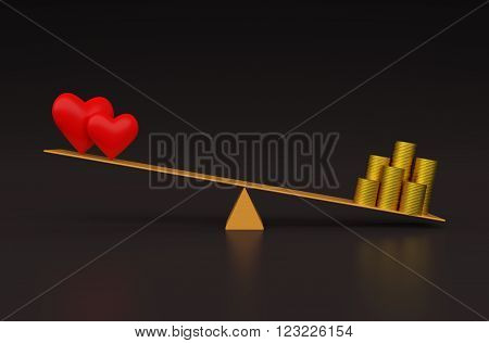 Heart  model with Gold Coins on Seesaw - 3D Rendering