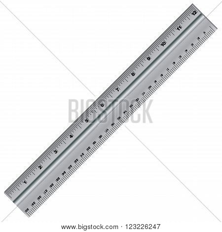 Vector ruler isolated on white background. Ruler Stainless Design. Object tool.