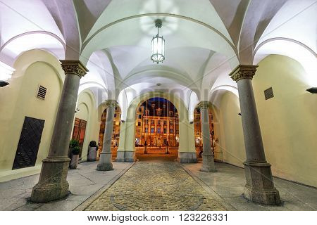 Arcades and market square of old town in of Wroclaw. Poland.