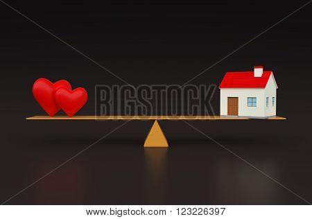 Heart with Home 3d render Model on Seesaw
