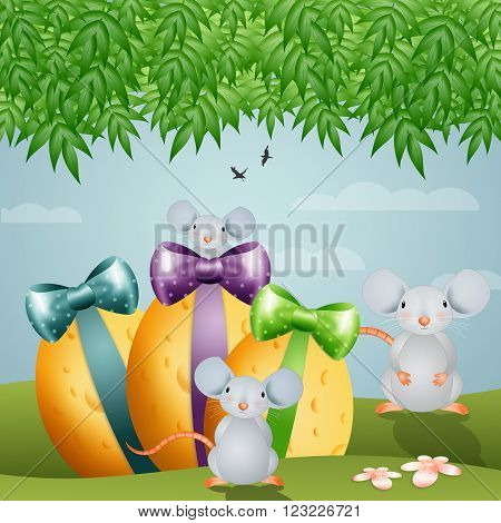Funny mouse's family with Easter cheese eggs