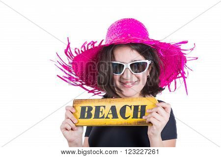 Teen girl with pamela and beach poster display