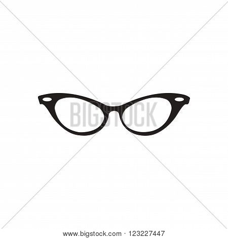 Flat icon in black and white  eyeglasses