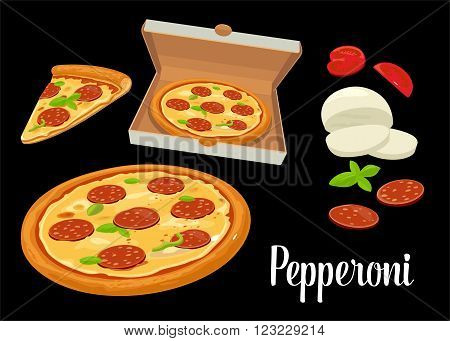 Whole pizza and slices of pizza pepperoni in open white box. Isolated vector flat illustration on white background. For poster menus logotype brochure web delivery business food box and icon.