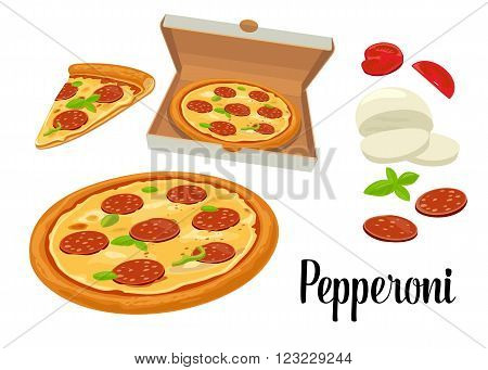 Whole pizza and slices of pizza pepperoni in open white box. Isolated vector flat illustration on white background. For poster menus brochure web delivery business food box and icon.