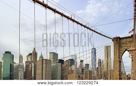 View of Downtown Manhattan from the Brooklyn Bridge.