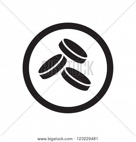 Flat icon in black and white  coins