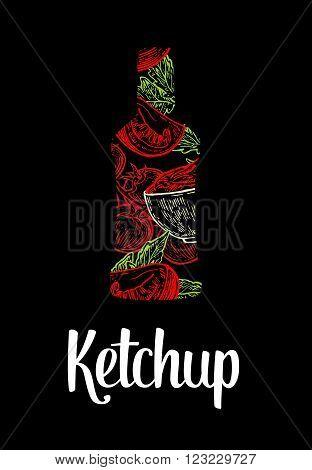 Ketchup bottle with tomato slice tomato leaf. Color drawn sketch on vintage black background. Vector engraved illustration.