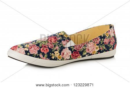 shoes with floral pattern isolated on a white background