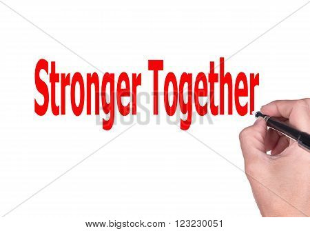 Hands of women who are writing the stronger together isolated on white background.