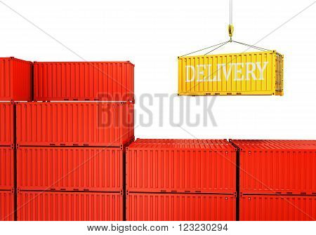 industrial port with containers Loading container isolated on a white background