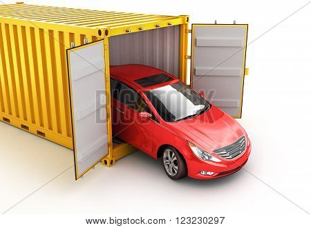 Freight transportation shipment and delivery concept red car inside yellow cargo container isolated on white