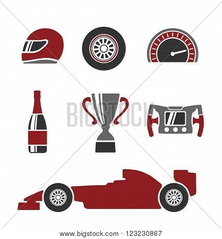 Car race icons set. Helmet wheel tire speedometer cup flag Vector flat illustration isolated white background.
